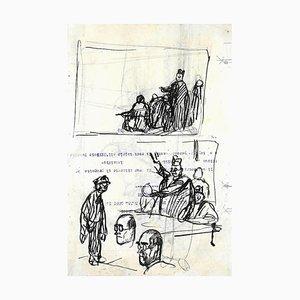 Gabriele Galantara, In the Court, Tuschezeichnung, 1910er