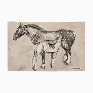 Germaine Nordmann - Horses - Original Ink and Watercolored Drawing - Mid-20th Century