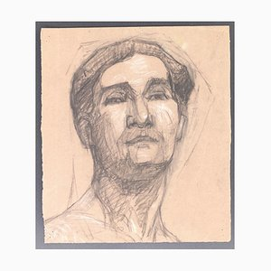 Alfred Pichon, Portrait, Charcoal Drawing, Early 20th Century