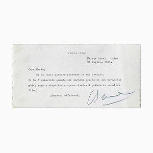Virna Lisi, Autograph Card, 1966