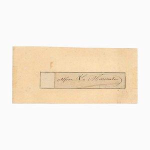Alfonso La Marmora, Card Signed by Gen. Alfonso La Marmora, Mid-19th Century