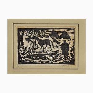 Unknown - Horses - Original Woodcut Print - 1962