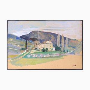 Jacques Ivane-Millérioux, Haus und Drei Graue Zypressen, Mitte 20. Jahrhundert