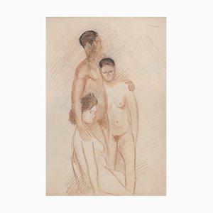Unknown - Three Nudes - Original Pastel - Early 20th Century