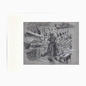 Jean Albert Grand-carteret - Interior - Original Drawing - Early 20th Century