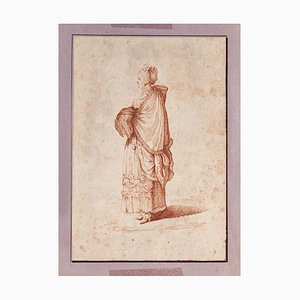 Unknown - Figure of Woman - Original Ink Drawing - 18th Century