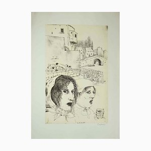 Bruno Caruso, Story of the Infamous Column, Etching, Late 20th Century