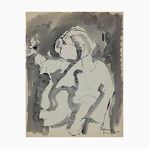 Henri Espinouze - Figure - China Ink and Watercolor - 1957
