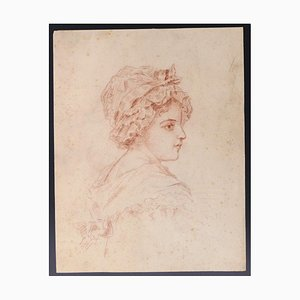 Emile-louis Minet - Profilo D'enfant - Sanguine - Fine XIX secolo