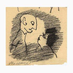 Mino Maccari, Couple, Charcoal, 1960s
