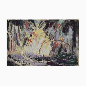 Unknown - Fireworks at Night - Original Drawing - 1940s