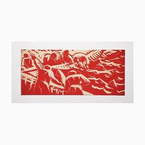 Enrico Accatino - Fishing - Woodcut - 1952