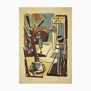 Guido La Regina - Colorful Cityscape - Linoleum - Late 20th-Century