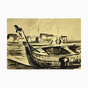 Luigi Surdi - Boats - China Ink and Watercolor - Mid 20th-Century
