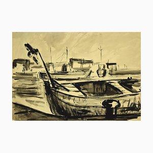 Luigi Surdi - Boats - Chine Encre et Aquarelle - Moyen 20ème Siècle