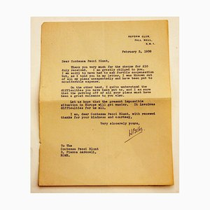 Letter from Hilaire Belloc to the Countess Pecci Blunt, 1938