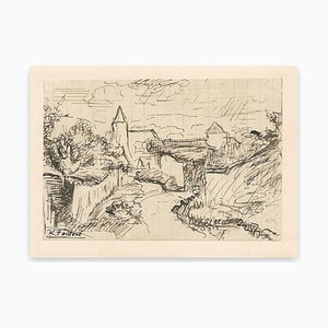Robert Fontene, View of the Village In the Nature, Ink, Mid-20th Century