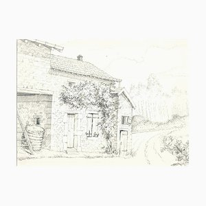 André Roland Brudieux - French Rural House - Pencil Drawing - 1960s