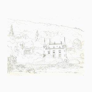 Andrew Roland Brudieux - The Château De Mesnil Blondel - Dessin à la Mine - 1960s