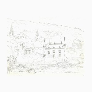 Andrew Roland Brudieux - The Château De Mesnil Blondel - Pencil Drawing - 1960s