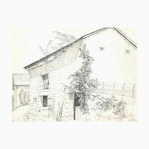 André Roland Brudieux - Maison de Campagne à Ladrat - Dessin au Crayon - 1960s