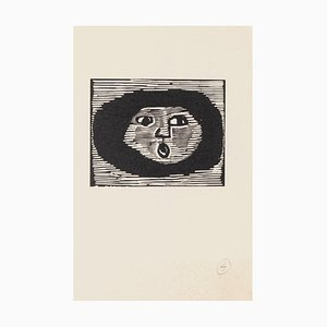 Mino Maccari - The Round Face - Woodcut on Paper - Mid-20th-Century