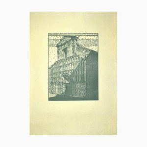 Bruno Da Osimo, The Church, Woodcut, 1925