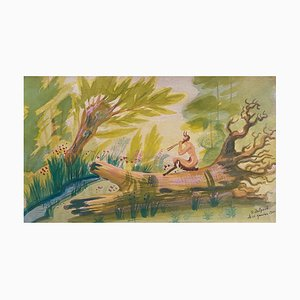 Jean Delpech - The Faun in The Woods - Aquarelle et Tempera - 1944