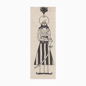 Bruno Angoletta, arabischer Prinz, China Tusche auf Papier, 1920er