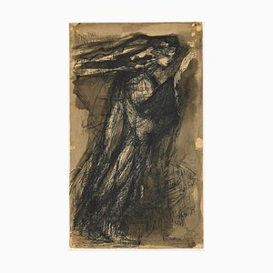 Unknown, Figure of Woman, Pen and Watercolor Drawing, Late 20th Century