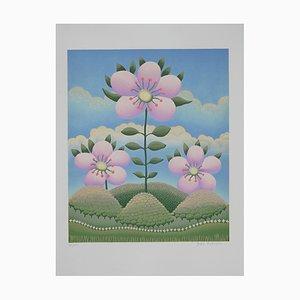 Ivan Rabuzin - Flowers in Landscape - Lithograph - 1980s