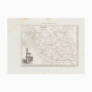 Desconocido - Mapa de Vendée - Grabado aguafuerte original - siglo XIX