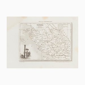 Unknown - Map of Vendée - Original Etching - 19th Century
