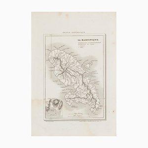 Karte von Martinique - Radierung - 19. Jahrhundert