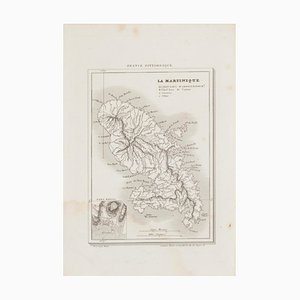 Map of Martinique - Etching - 19th-Century