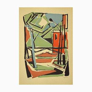 Guido La Regina - Colorful Composition- Linoleum - Late 20th-Century