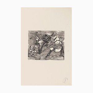 Mino Maccari - Scena satirica - Xilografia su carta - anni '60