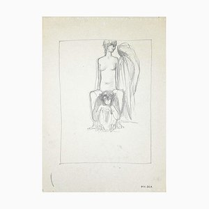 Leo Guida - The Girl and The Gorilla - Drawing on Paper - 1950s