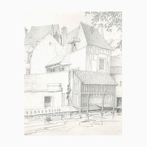 André Roland Brudieux, Architectures In Vendôme, Pencil Drawing, 1960s