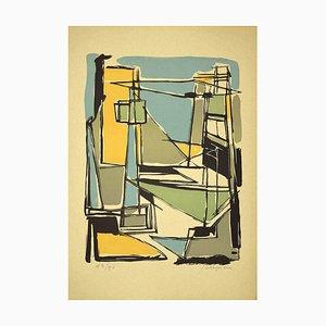Guido La Regina, Colorful Composition, Linoleum, Late 20th Century