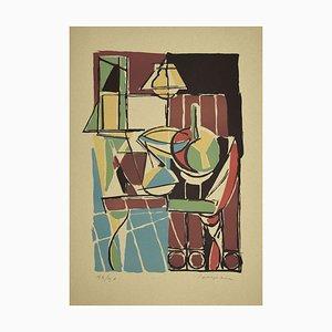 Guido La Regina, Bunte Komposition, Linoleum, spätes 20. Jahrhundert