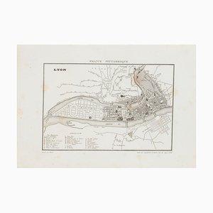 Sconosciuto, Mappa di Lione, incisione, XIX secolo