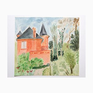 Jean Fou, The Castle and the Garden, Mixed Media, Mid-20th Century