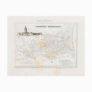 Unknown, Karte der Pyrenäen, Radierung, 19. Jahrhundert