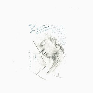 Jean Cocteau, Profilo, Litografia, 1982