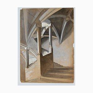 Inconnu, Perspective d'un Escalier, Crayon et Aquarelle, 20ème Siècle