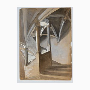 Unknown, Perspective of A Staircase, Pencil and Watercolor, Mitte des 20. Jahrhunderts