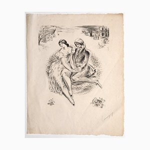 Paul-Pierre Lemagny, Figures, Lithograph, Mid-20th Century