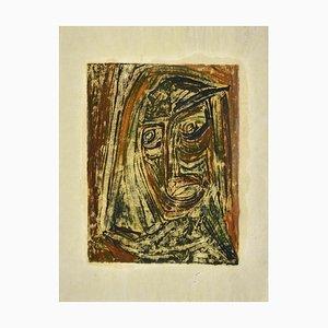 Portrait d'Anselmo Bucci, Dessin sur Papier par Sebastiano Carta, 1950s