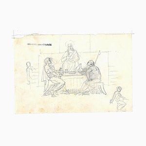 Michel Dumas, Religious Scene, Pencil on Paper, 19th Century